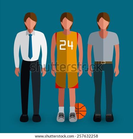 Set of men avatar : Flat Illustration - stock vector