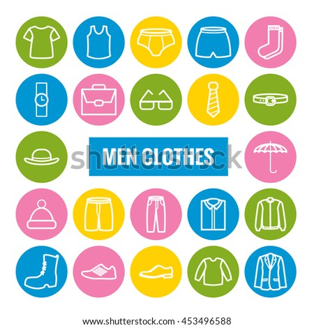 Set of men clothes outline icons. Linear icons for web and mobile apps