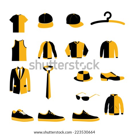 Set of Men Fashion Clothing and Accessories Design Icon
