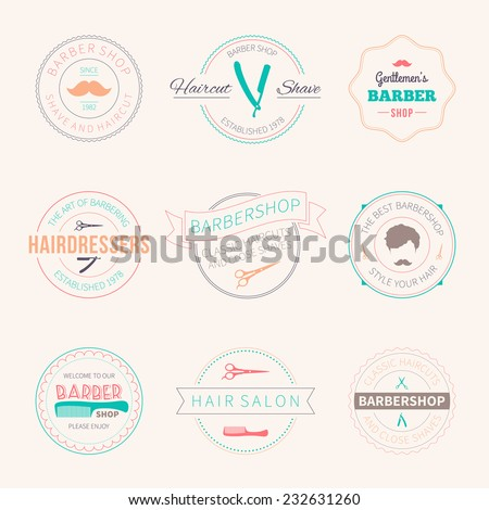 set of men's barber shop badges, labels and logos - stock vector