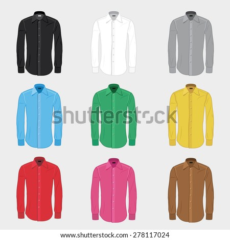 Set of men's shirts in different colors - vector illustration - stock vector