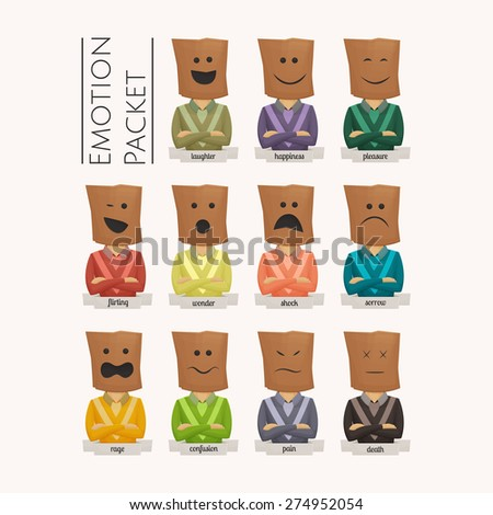 Set of men with paper bags on their heads which are drawn emotions - stock vector