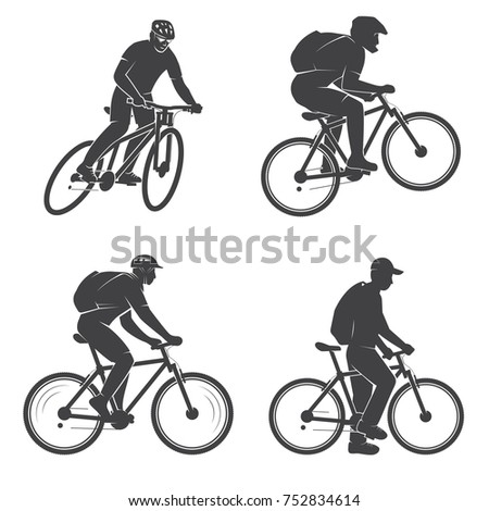various cycling poses black white silhouettes stock vector