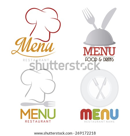 Set of menu icons with text on a white background. Vector illustration - stock vector
