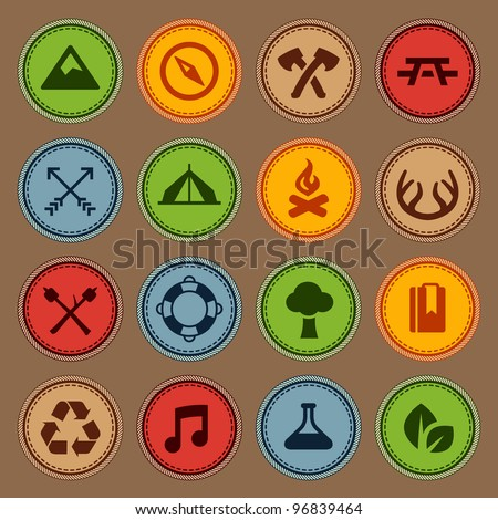 Set of merit achievement badges for outdoor activities - stock vector