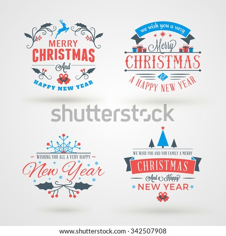 Set of Merry Christmas and Happy New Year Decorative Badges or Labels for Greetings Cards. Vector Illustration - stock vector