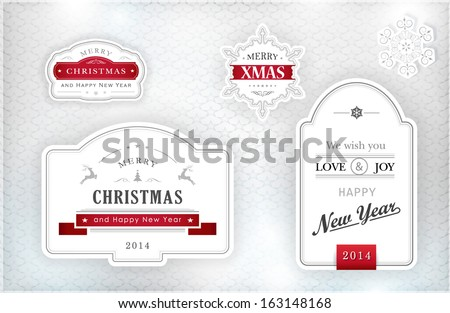 "Set of ""Merry Christmas and Happy New Year"" labels and snowflakes in elegant shades of gray, silver, white and red on textured silver background with light effects. Vector. - stock vector"