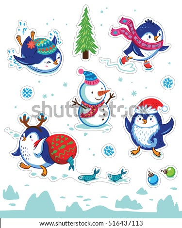 Set of Merry Christmas and Happy New Year stickers or magnets. Cartoon Penguin skating, slides, carries a fish in a bag, put on Santa beard. Vector illustration