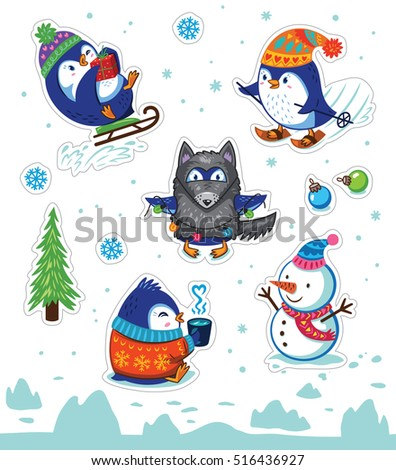 Set of Merry Christmas and Happy New Year stickers or magnets. Cartoon Penguin sledding, skiing, dressed in a wolf costume. Vector illustration