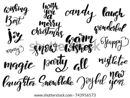 Set Merry Christmas Happy New Year Stock Vector 743956573 - Shutterstock