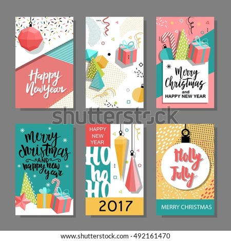 Set of Merry Christmas and New Year flat design greeting card, background, invitation, poster, flyer. Holidays elements - noel, star, ball, candy, gift, mitten.