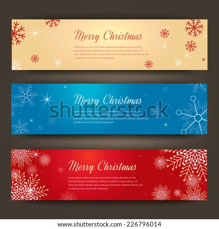 Set of Merry Christmas banners. Vector Illustration. - stock vector