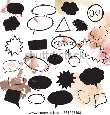 Set of message bubbles. Hand drawn vector illustration. - stock vector