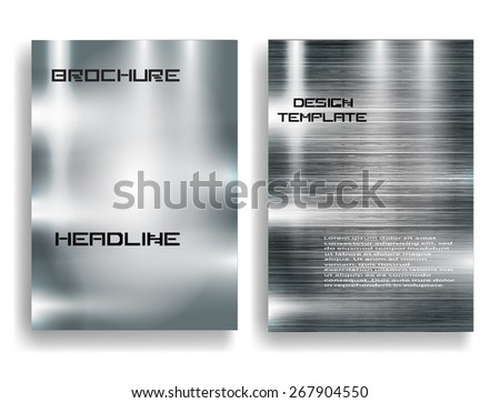 Set of Metal Backgrounds With Shiny Light Effects . Steel Metal Texture . Brushed Texture .Vector Illustration. Set of Flyer Templates. Collection of Brochure Design . Abstract Modern Background . - stock vector
