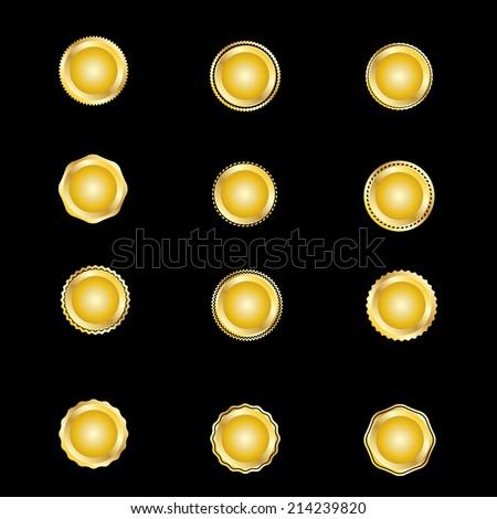 Set of metal badges. Vector illustration - stock vector