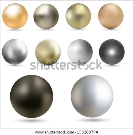 Set of metal balls. Vector eps10. - stock vector