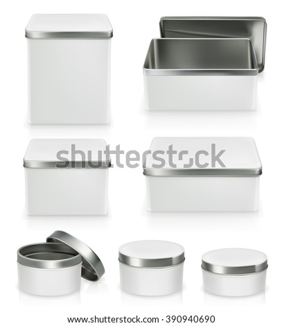 Set of metal boxes. Metal box mockup. Packaging, vector object isolated on white background - stock vector