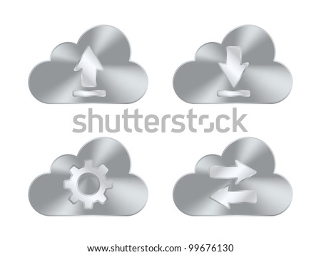 Set of metal cloud icons. Vector illustration - stock vector