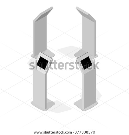 Set of metal display advertising vertical white an isometric projection for indoor and outdoor use. - stock vector