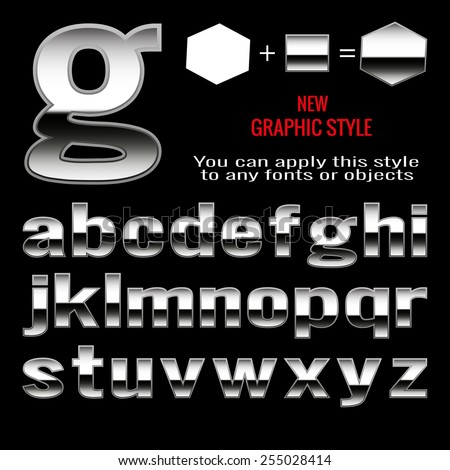 Set of metal letters and metal graphic style. You can apply this style to any fonts and objects, vector. EPS 10. - stock vector
