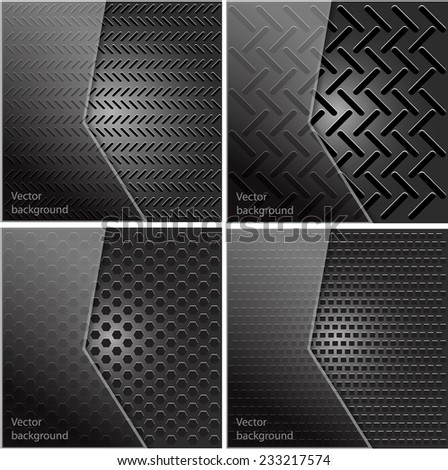 Set of metal texture with grid background. Vector illustration. Template design. - stock vector
