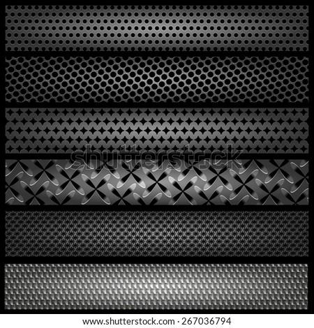 Set of metal textures, vector, eps 10 - stock vector