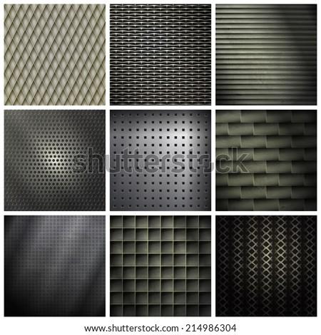 set of metallic, industrial backgrounds. vector texture - stock vector