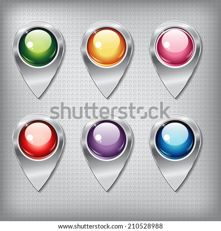 Set of metallic map pointers with colored shiny buttons on a metal textured  background for websites or applications (app) for smartphones and tablets. - stock vector