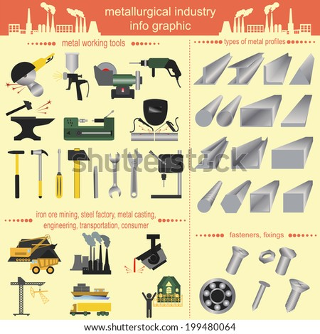 Set of metallurgy icons, metal working tools; steel profiles for creating your own industry infographics. Vector illustration - stock vector