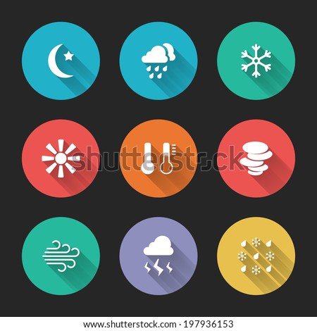 Set of meteorological icons on colorful round web buttons depicting a new moon  rain  snow  wind  storm  sunshine  temperature and solar  vector illustration