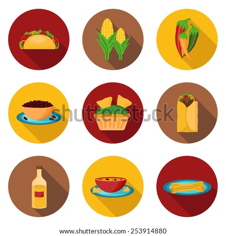 Set of mexican food icons for your design - stock vector