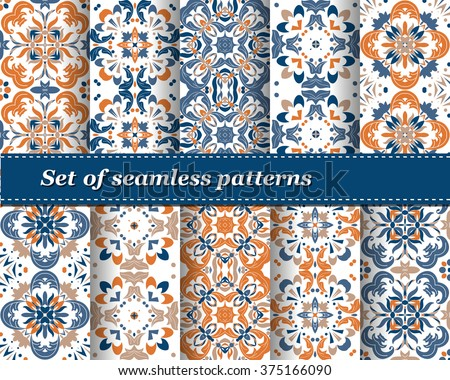 Set of Mexican stylized talavera tiles seamless pattern. Background for design and fashion. Arabic, Indian patterns, Mexican talavera tiles - stock vector