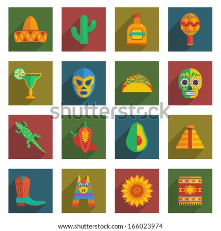 set of mexican themed icons on squares with long shadows isolated on white, eps10 format - stock vector