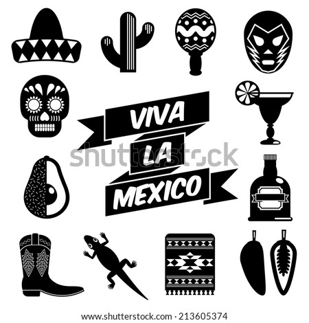 set of mexican themed silhouette icons, isolated on white - stock vector