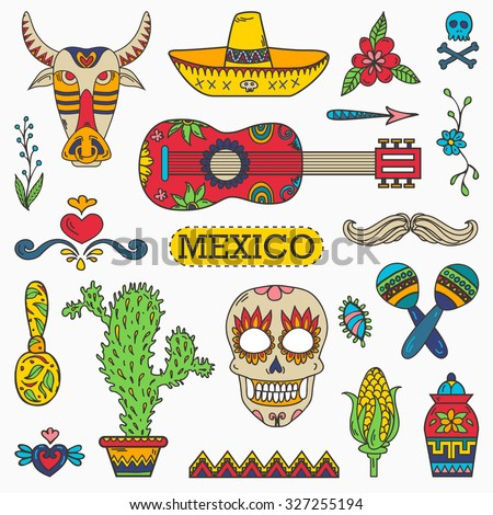 Set of Mexican traditional and cultural elements. - stock vector