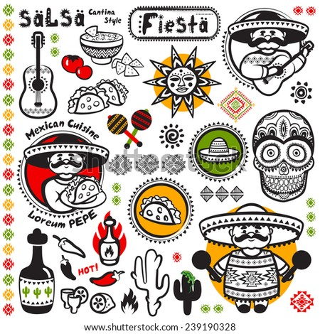 Set of Mexican vector symbols for your business - stock vector
