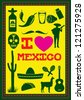 Set of Mexico icons, Vector - stock vector