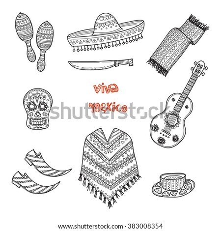 Set of Mexico related hand drawn icons including guitar, maracas, poncho, food, mask and others. Doodle vector Mexico related collection