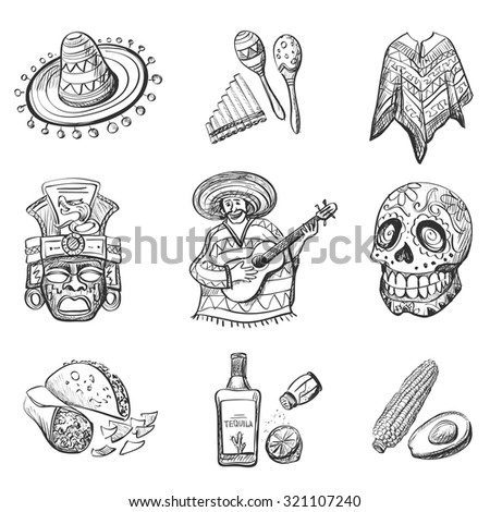 Set of Mexico vector illustrations, such as guitar, sombrero, tequila, taco, skull, rum, aztec mask, music instruments. - stock vector