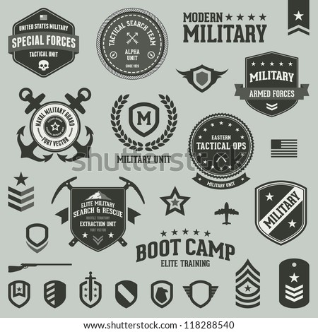 Set of military and armed forces badges and labels logo - stock vector