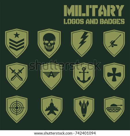 military patch template - military unit patch insignia set green stock vector