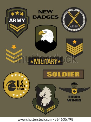 Set of Military and Army Badge and Patches typography, t-shirt graphics, vectors