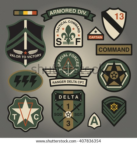 Set Of Military and Army Patches and Badges 3 - stock vector