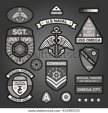 Set Of Military and Army Patches and Badges in Naval style Monochrome 1 - stock vector