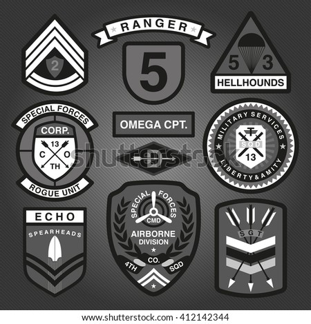 Set Of Military and Army Patches and Badges Monochrome 2  - stock vector