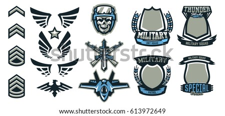 Set military military badges emblems automatic stock for Military patch template