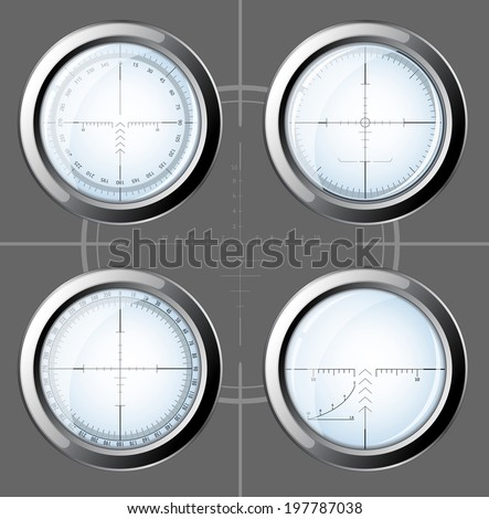 Set of military design elements - sniper scopes over grey background. Vector illustration eps10. All images could be easy modified. - stock vector