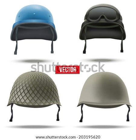 Set of Military helmets Vector Illustration. Army symbol of defense. Isolated on white background. - stock vector
