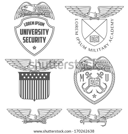 Set of military labels, badges and design elements - stock vector