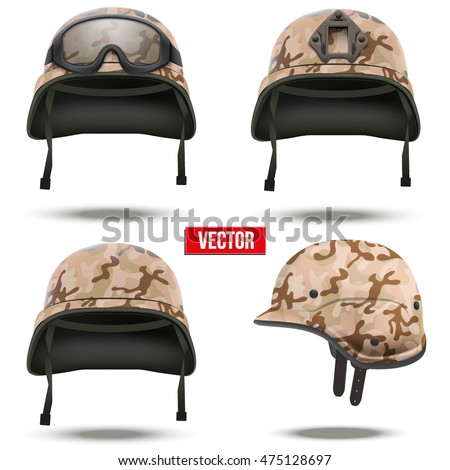 Set of Military tactical helmets of rapid reaction. Desert camouflage color. Army and police symbol. Editable Vector illustration Isolated on white background.